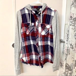 Hooded Plaid Button Down Sweater